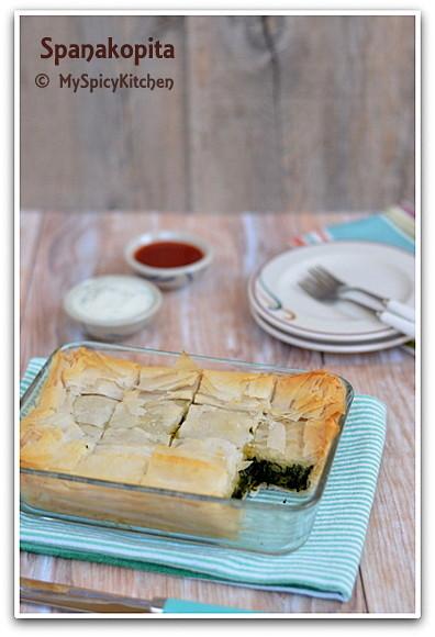 Spinach pastry, Greek SPinach Pastry, Spinach Pie, Greek Food, Blogging Marathon, Around World  in 30 day with ABC Cooking