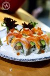 Coral Inside Out Sushi Roll, $15