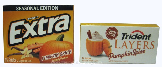 Wrigley's Extra Seasonal Edition Pumpkin Spice Gum and Trident Layers Limited Edition Pumpkin Spice Gum