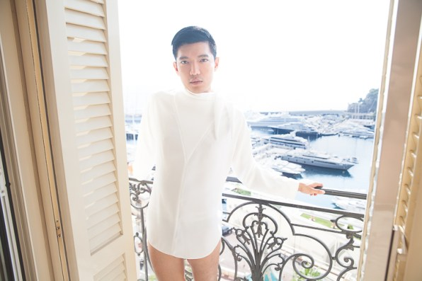Bryanboy in Balenciaga at the balcony of Hotel Hermitage in Monaco