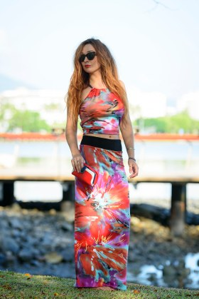 Long Straight Skirt with Split and Sunny Top