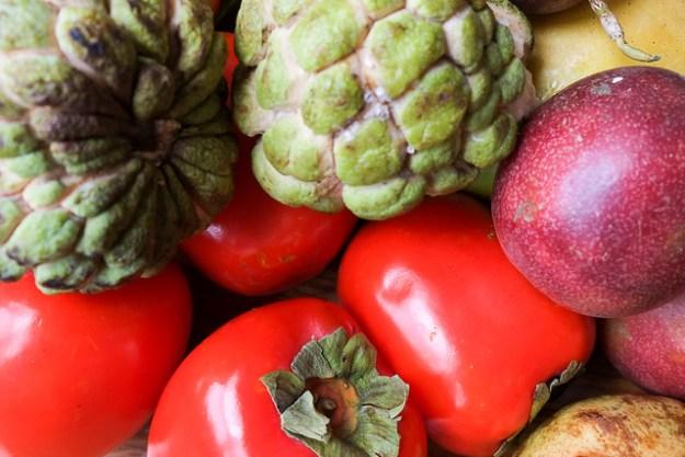 Custard apple, passion fruit, persimmon. Hanoi