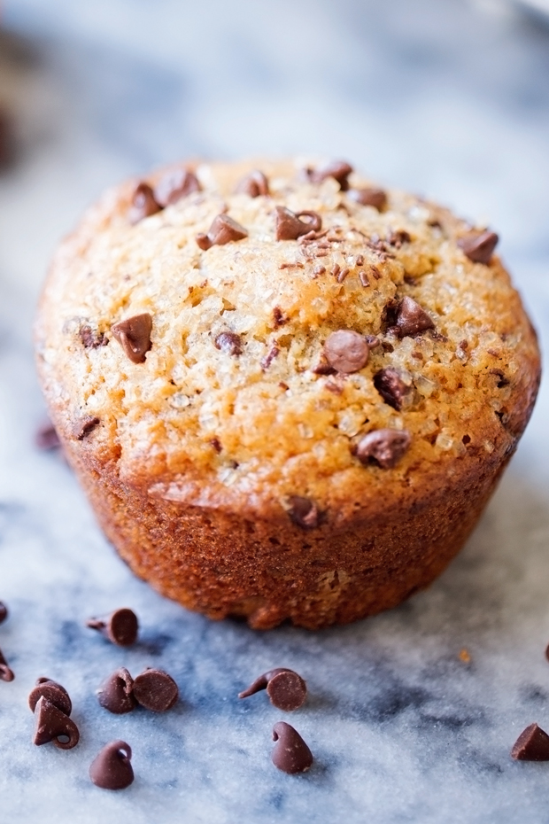 Bakery Style Chocolate Chip Muffins - Made with coconut oil and greek ...