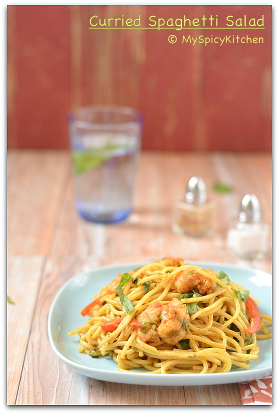 Curried Spaghetti Salad, Pasta Salad, Salad, Cooking from Cookbook, CCChallenge, Indo-Italian Food,