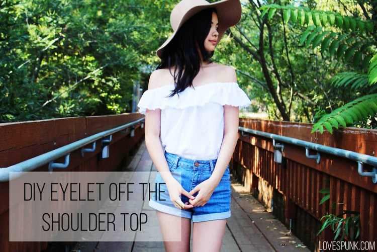 DIY Eyelet Off the Shoulder Top