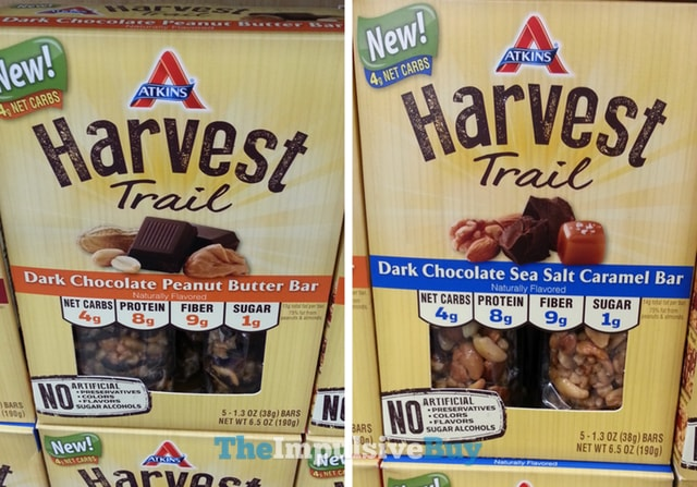 Atkins Harvest Trail Bar (Dark Chocolate Peanut Butter and Dark Chocolate Sea Salt Caramel)