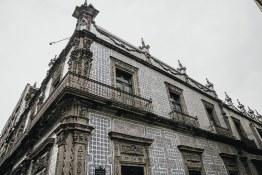 Mexico City   The beautiful art deco influenced facade of Sanborn's de los Azulejos.