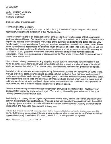 Letter of Appreciation WL Rubottom Cabinets Co