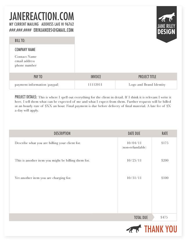 Jane Reaction - designing an invoice
