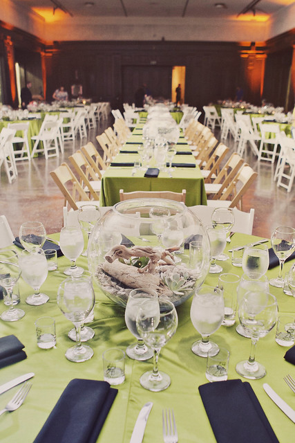 View of the wedding party table
