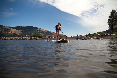 paddle-boarding on the Columbia River