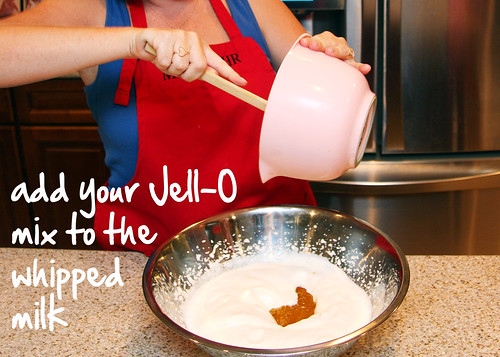 add your chilled Jell-O to your whipped milk