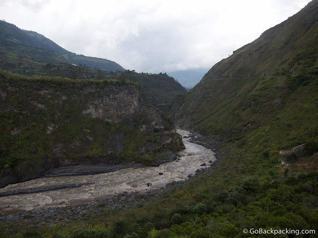 The river running through Banos Ecuador
