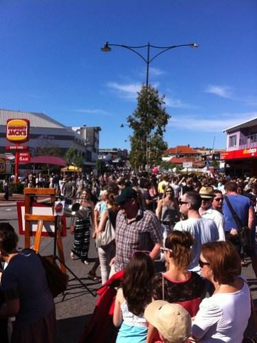 The Beaufort Street crowd...