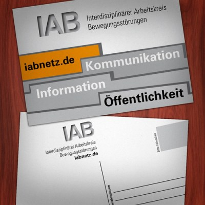 Promotional postcards for the Interdisziplinärer Arbeitskreis Bewegungsstörungen in Hamburg, Germany.