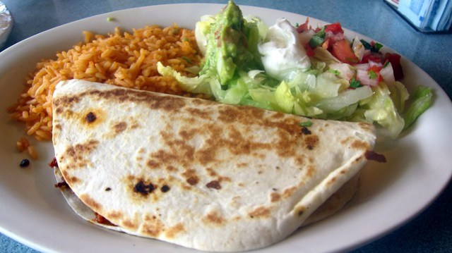 chorizo quesadilla at la botana