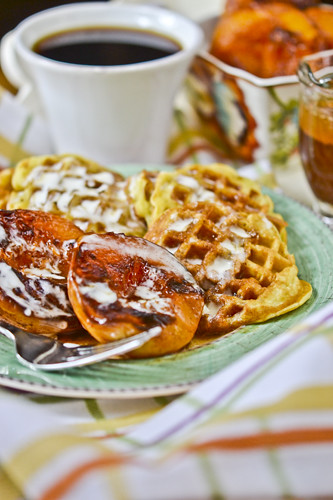 Waffles with Honey-Caramelized Peaches 5
