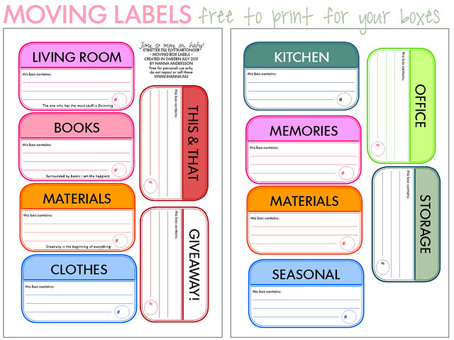 Free Moving Box Labels English or Swedish labels to download