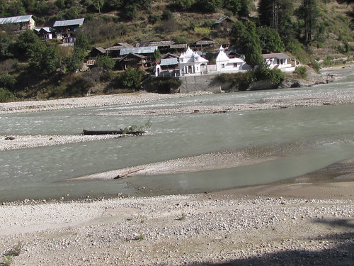 Maharishi Markandaey Ashram in White and banks of River Bhagirathi near Harsil