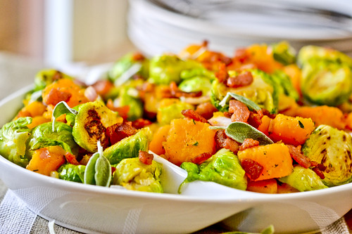 Brussels Sprouts & Butternut Squash with Bacon Vinaigrette 7