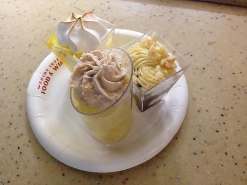 Desserts & Champagne - Dessert Trio (Lemon Chiffon, White Chocolate Macadamia Mousse with Dark Chocolate Pearls, Tres Leches Verrine)
