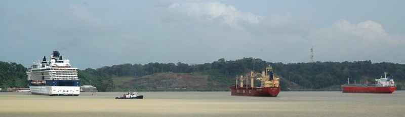Boats waiting to enter Gatun locks, Panama Canal