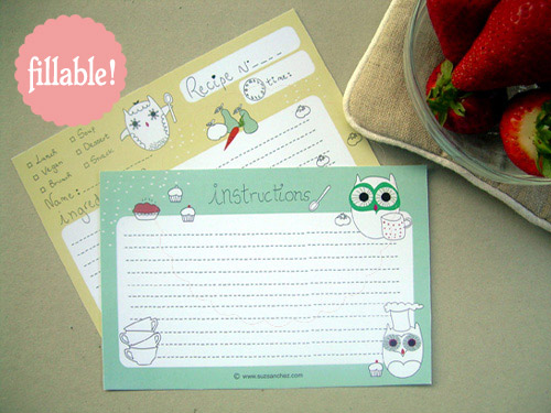 fillable recipe cards