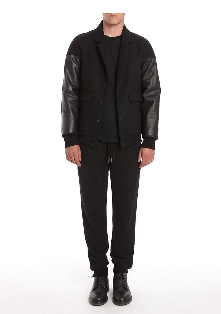 Alexander Wang Brushed Felt Varsity Jacket With Leather Sleeves