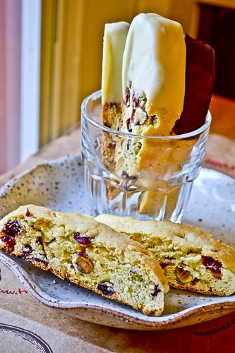 Pistachio, Cranberry & White Chocolate Biscotti