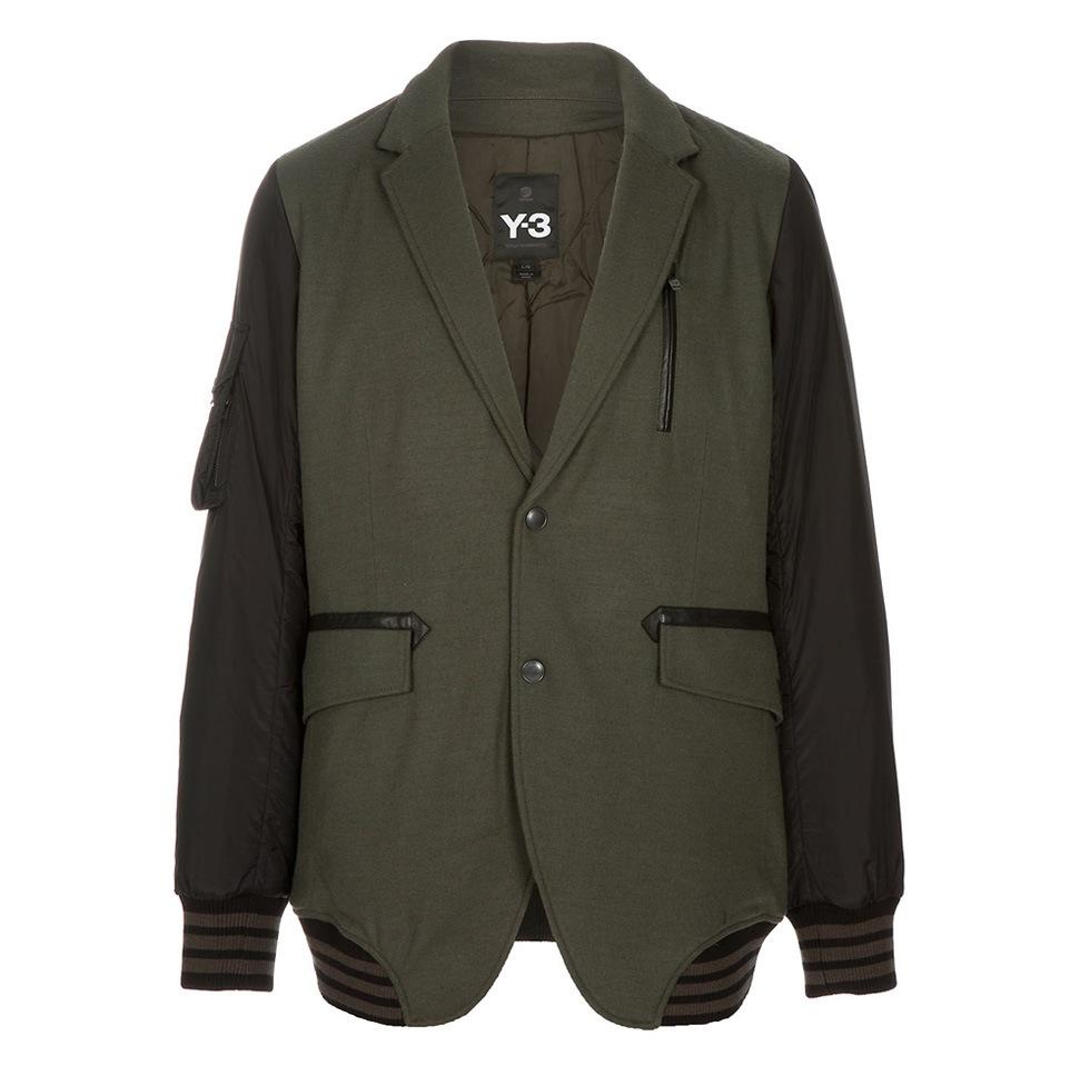 Y-3 - green wool flannel blazer
