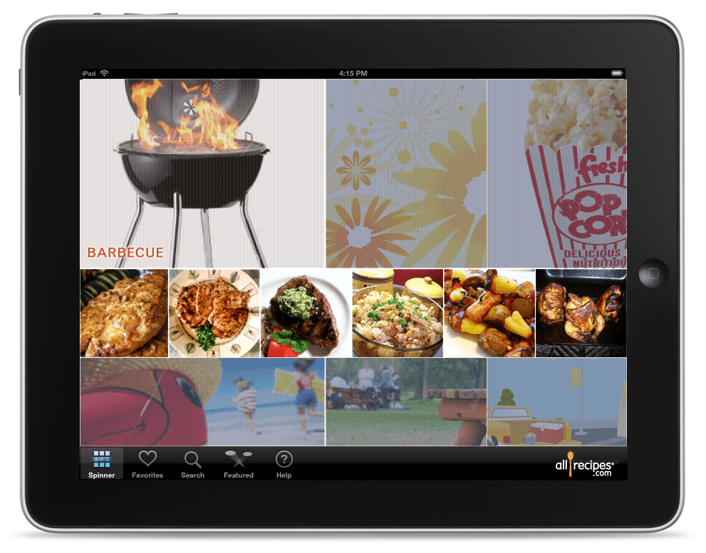 Allrecipes iPad UI
