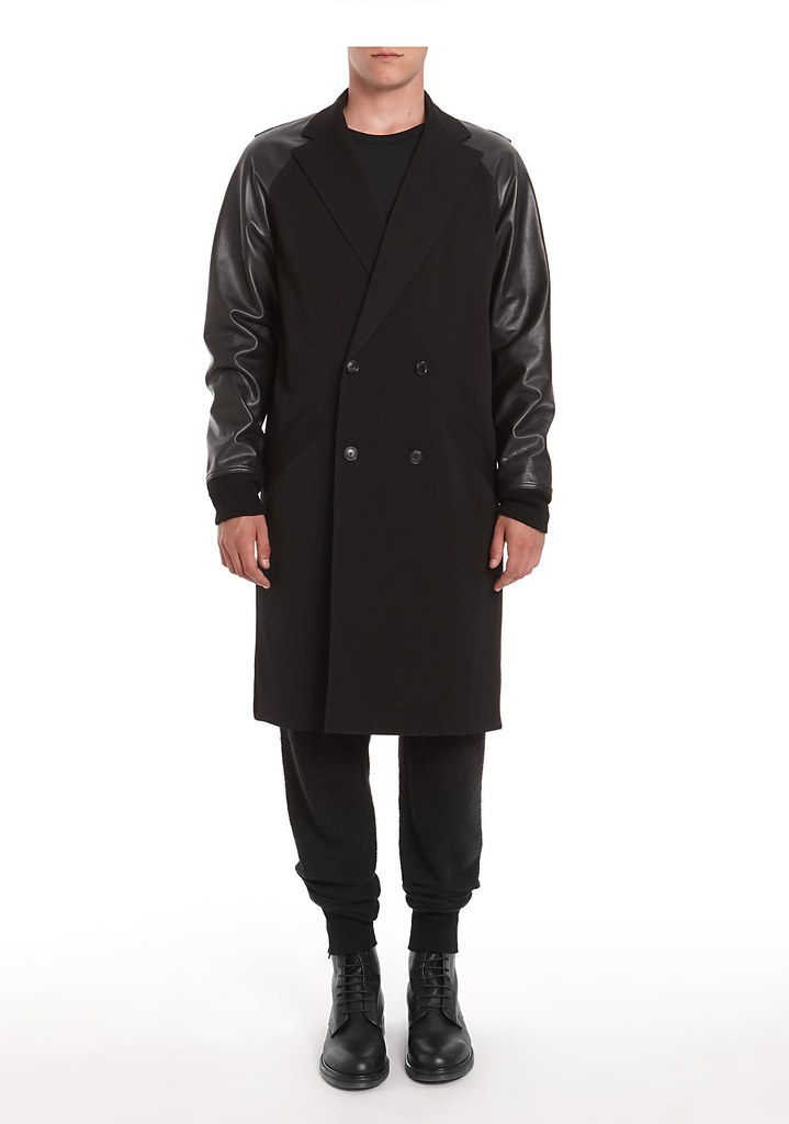 Alexander Wang Double Breasted Coat With Leather Sleeves
