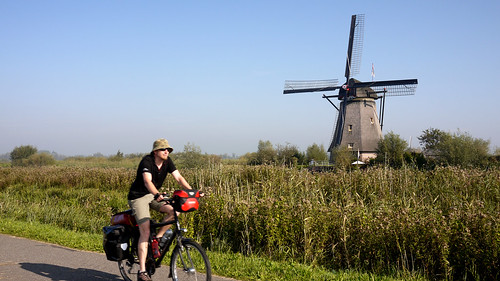 Zipping past the windmills of the Netherlands.