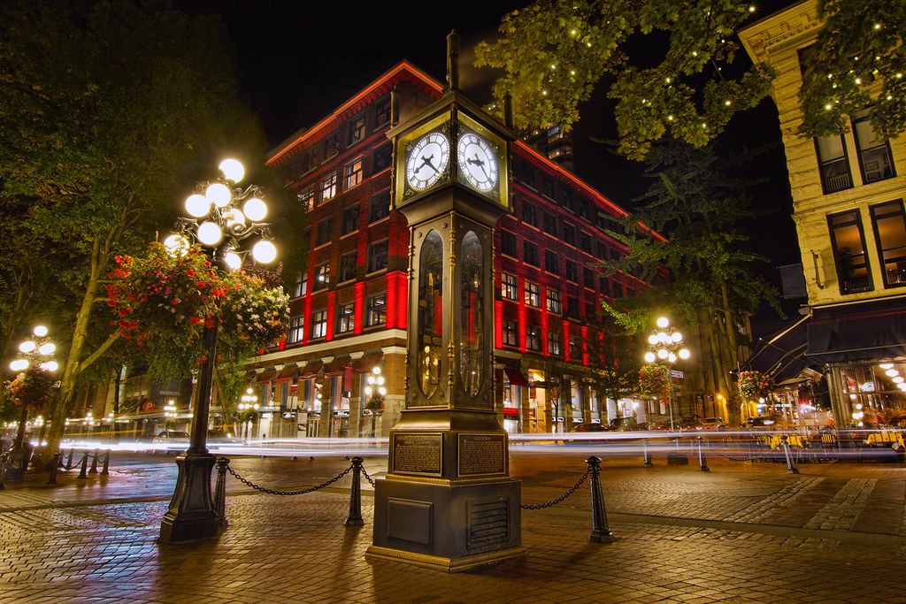Black And Gray Wallpaper Steam Clock In Historic Gastown Vancouver Bc At Night Hd