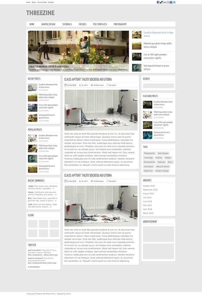 Free Magazine Template PSD \u2013 Threezine Available for free \u2026 Flickr