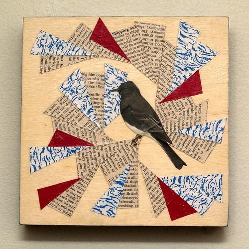 Bird collage on wood-4