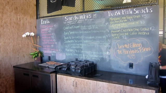 chalkboard menu at ink.sack