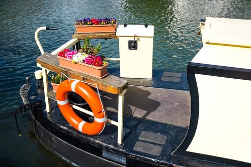 Flowery river boat