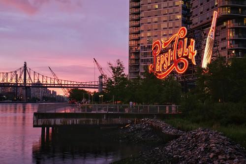Pepsi Cola and the Queensboro Bridge at sunset
