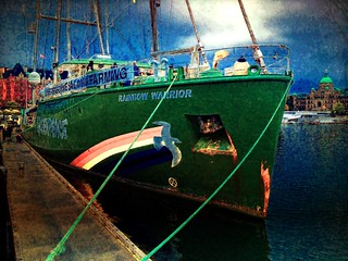 Greenpeace flagship Rainbow Warrior at Victori...