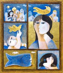 Souvenir d'enfance - oil on panel - 40 x 42 cm