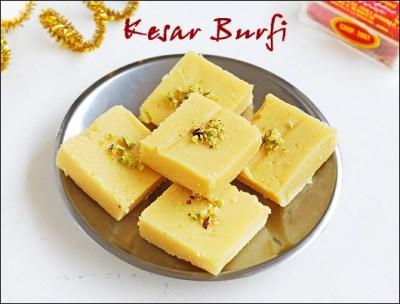Kesar burfi with khoya   Easy Diwali sweet recipes - Raks Kitchen