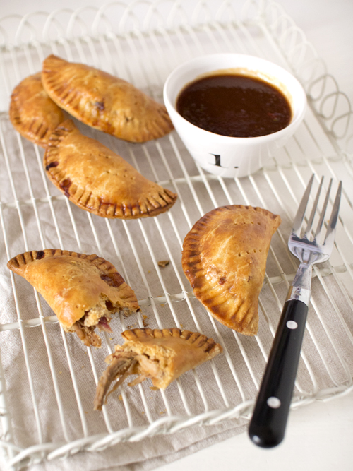 pulled pork empanadas with peach BBQ sauce