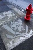 Hank and Dank, sidewalk stencil off Main