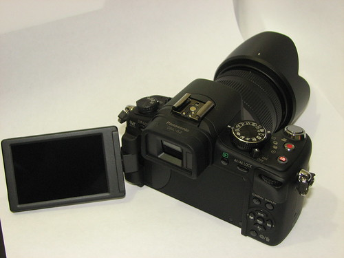 my new camera - lumix dmc g2 - back (showing swivel screen)