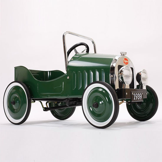 Classic green Baghera childrens pedal car