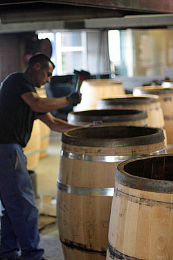 making cognac barrels