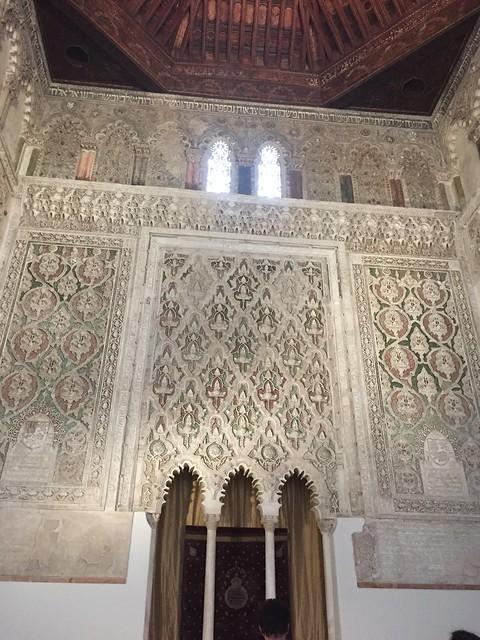 Sinagoga del transito, Toledo, Spain. Detail of the stucco work inside the main prayer hall