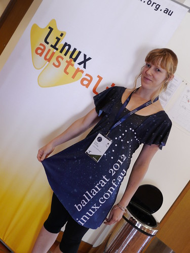 Jenna Downing at linux.conf.au 2012 with t-shirt dress she handmade. Credit: Brett Jamess CC-BY-NC