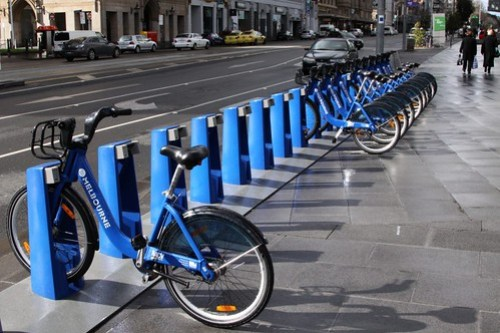 Melbourne Bike Share bikes station, with a lot of empty bays